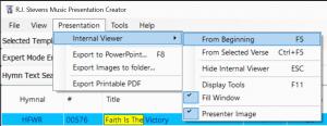 Internal viewer menu